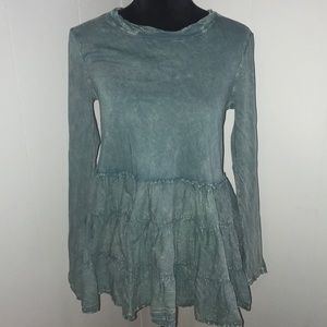 Altar'd State Long Sleeve Teal Ruffle Bottom Top